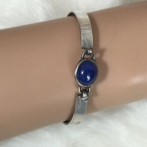 Jewelry - STERLING SILVER BLUE LAPIS CLAMPER BANGLE BRACELET